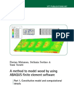 A Method to Model Wood by Using ABAQUS Finite Element Software-P1