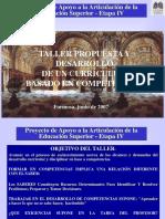Taller Propuesta y Desarrollo de Un Curriculum Basado en Competencias