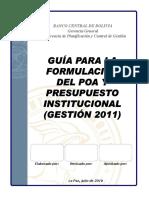 Guia Para La Formulacion Del Poa y El Presupuesto Institucional