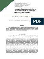 DETERMINACIÓN DE LA RELACIÓN DE VOLTAJE Y CORRIENTE