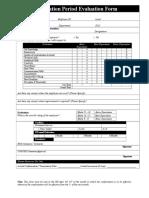 Probation Period Evaluation Form