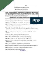 Rewriting the Sentences Parallel Worksheet