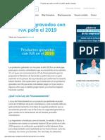 Productos Gravados Con IVA en El 2019_ Listado Completo