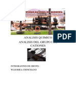Analis Del Grupo i de Cationes-LABORATORIO 1 DE ANALISIS QUIMICO