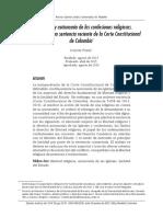 Estado laico y autonomía de las confesiones religiosas. A propósito de una sentencia reciente de la Corte Constitucional de Colombia