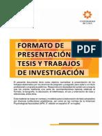 Formato de presentación tesis y trabajos de investigación