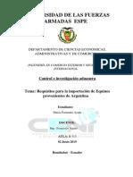 Requisitos Para La Importación de Equinos Provenientes de Argentina