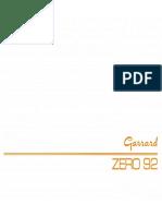 Garrard Zero 92 Owners Manual