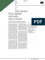 Per quattro giorni Pisa capitale del Teatro Universitario - Il Tirreno dell'11 giugno 2019