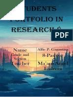 Students Portfolio in Research 8 Alfir