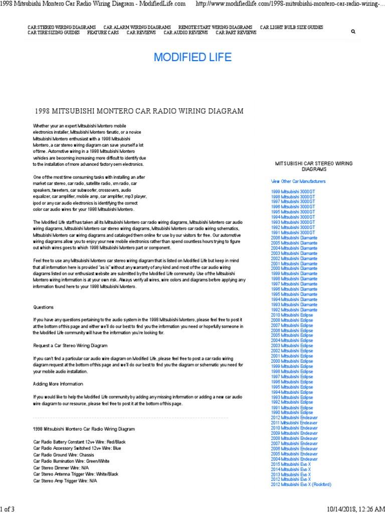 Wiring | Car | Audio Electronics | 1998 Mitsubishi Montero Stereo Wiring Diagram |  | Scribd