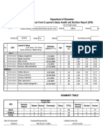 G. 4 School Form 8 SF8 Learner Basic Health and Nutrition Report