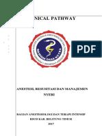 Clinical Pathway Anestesi, Resusditasi Dan Manajemen Nyeri