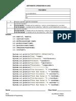 Java 1 Arithmetic Operators