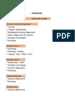 Construction Punchlist Sample