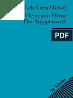 Georg Patzer Lektureschlussel Hermann Hesse Der Steppenwolf 2007