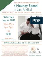 Weldon Mauney Sensei Seminar at NOLA Aikido July 2019 Flyer