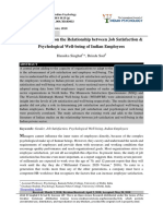 Impact of Gender on the Relationship between Job Satisfaction & Psychological Well-being of Indian Employees