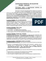 Convenio Interinstitucional Entre La Municipalidad Distrital de Huantar y La Municipalidad Provincial de Huari