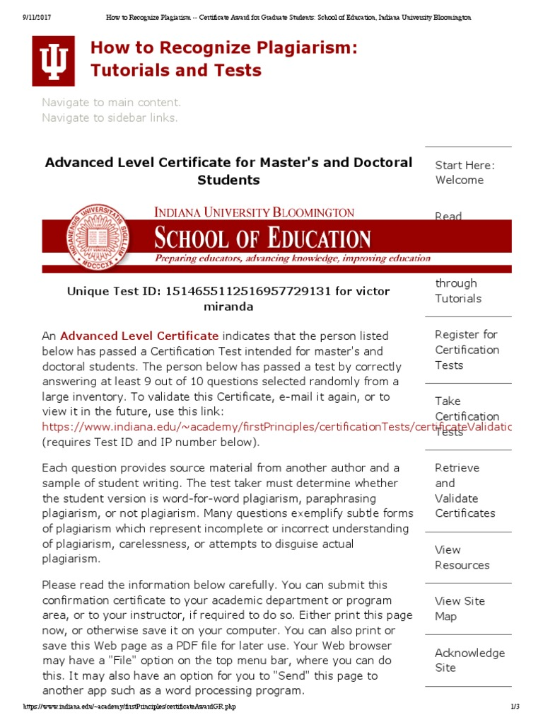How To Recognize Plagiarism Certificate Award For Graduate Student School Of Education Indiana University Bloomington World Wide Web Paraphrasing Iu