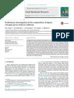 Investigación preliminar de la composición de la leche de alpaca ( Vicugna pacos ) en California