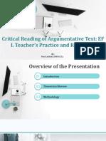 Yeni Latifah (1803621) Critical Reading of Argumentative Text EFL Teacher's Practice and Reflection