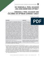 Constituyen Venezuela, Peru, Ecuador y Colombia Una Zona Monetaria Óptima