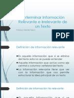Determinar Información Relevante e Irrelevante de Un Texto