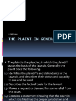 Lecture 9 - The Plaint in General