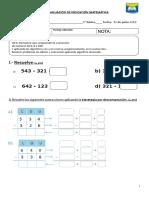Evaluación matemática sustracción y resolución de problemas