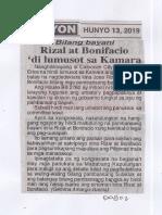 Ngayon, June 13, 2019, Bilang bayani Rizal at Bonifacio di lumusot sa Kamara.pdf
