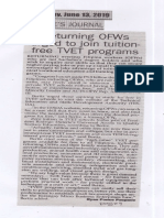 Poeples Journal, June 13, 2019, Returning OFWs urged to join tuitionfree TVET programs.pdf