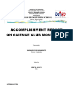 Accomplishment Report on Science Club