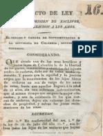 1824 Mosquera, Proyecto Ley Manumision