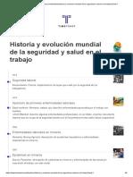 Historia y Evolucion Mundial de La Seguridad y Salud en El Trabajo