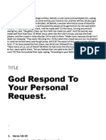 God repond to your personal request