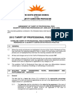 2013 Guideline Tariff of Professional Fees