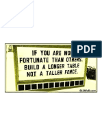 Build a Longer Table .. Not a Taller Fence