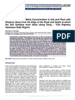 Variation of Heavy Metal Concentration in Soil and Plant with Distance Away from the Edge of the Road and Depth at which the Soil Samples were taken along Song – Yola Highway Adamawa State Nigeria