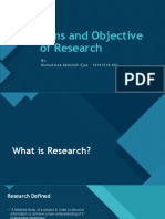 Aims and Objective of Research