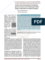 Status of Information and Communication Technology Training and Support for Science and Technology Teacher Educators in Colleges of Education in Southeast, Nigeria