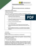 PLANIFICACION de ASIGNATURA. Conocer Los Principios de La Gestión de Los Recursos Humanos en Empresas, Especialmente en Empresas Agropecuarias.