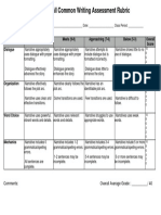 8th Grade Fall Common Writing Assessment Rubric