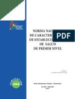 Norma Nacional de Caracterizacion de Establecimientos de 1er Nivel