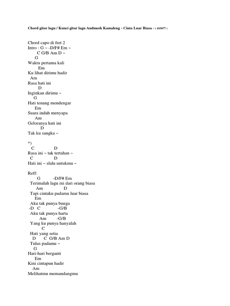 Chord Lagu Rindu Blog Pendidikan