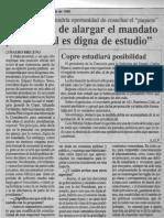 Edgard Romero Nava - Propuesta de Alargar El Mandato Presidencial Es Digna de Estudio - Reporte 21.06.1990
