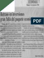 Edgard Romero Nava - Retraso en Inversiones Gran Falla Del Paquete Economico - 14.07.1990