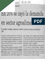 En 20% Se Cayo La Demanda en Sector Agroalimentario - El Universal 26.09.1990