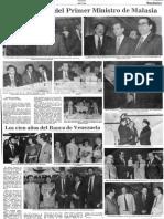 Sociales - Edgard Romero Nava - Cena en Honor Del Primer Ministro de Malasia - Diario 2001 07.08.1990