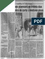XLVI Asamblea de Fedecamaras - El Empresariado Planteara en Treinta Dias Un Plan Economico de Corto y Mediano Plaza - El Nuevo Pais 23.07.1990